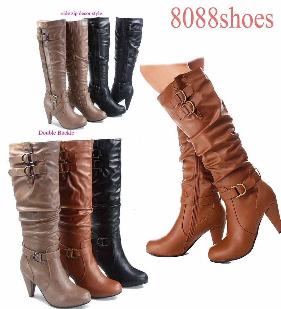 stylish chunky heel knee high zipper dress boots s