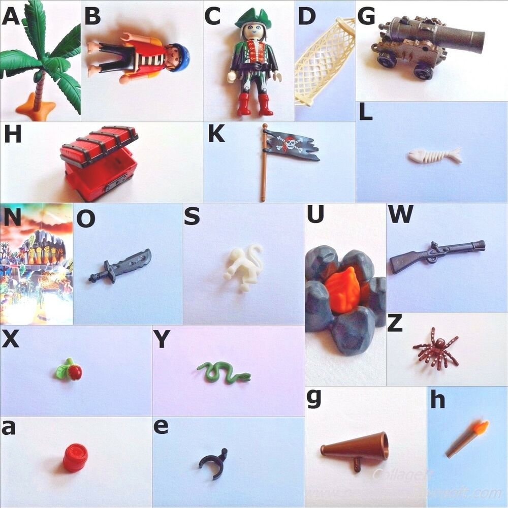 Playmobil 4164 pirate treasure trunk rowboat compass tiny for Monkey fish toys