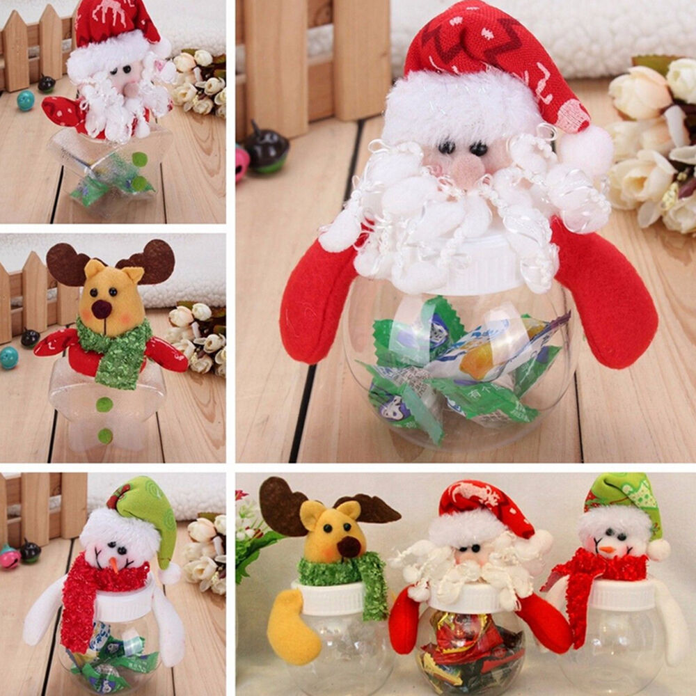 Christmas Clear Plastic Santa Cookie Candy Storage Bottle