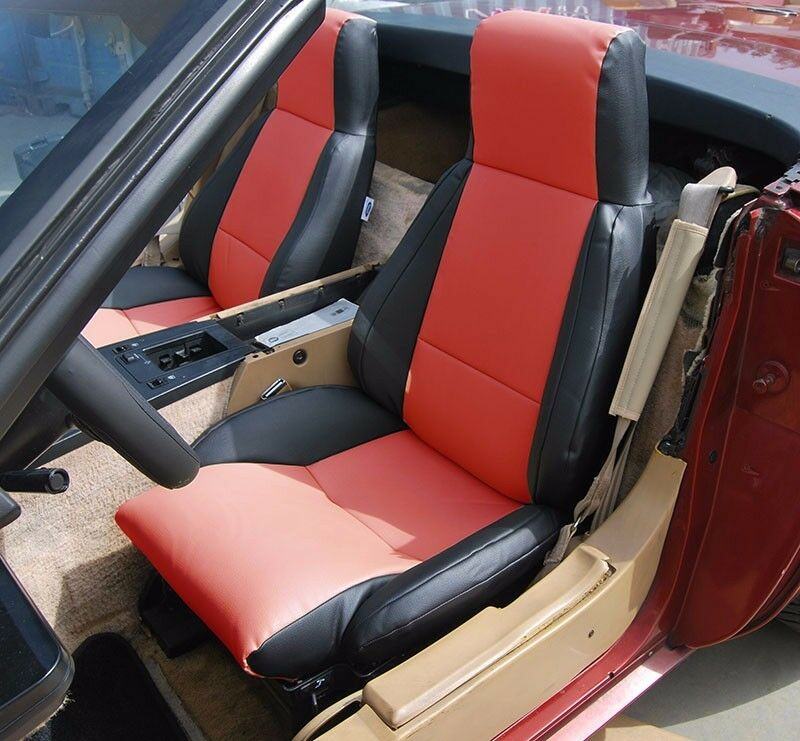 chevy corvette c4 type3 1984 1993 black red s leather custom fit seat cover ebay. Black Bedroom Furniture Sets. Home Design Ideas