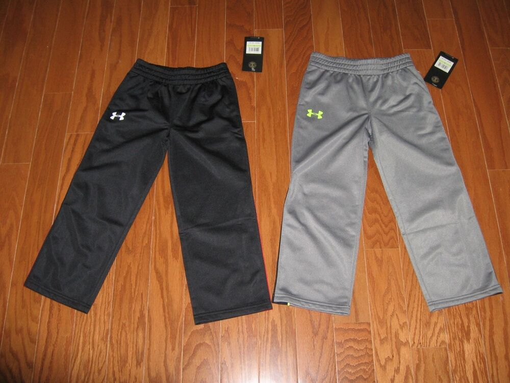 Under Armour Boys Athletic Pants Gray Black With Stripe