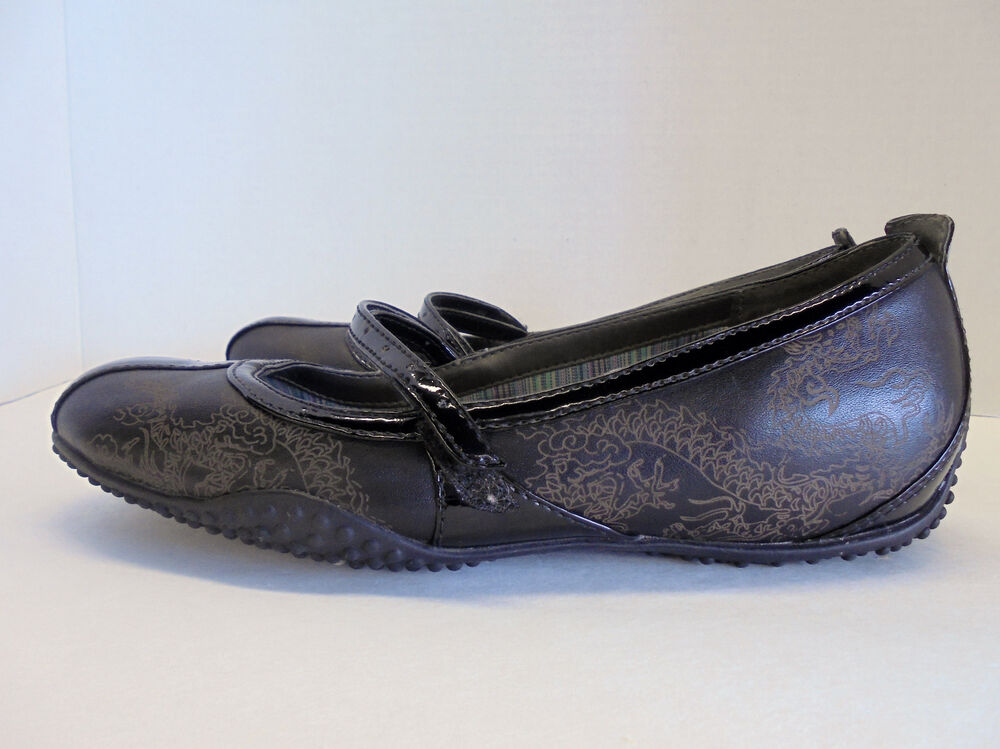 Privo Clarks Black Chinese Dragon Leather Mary Jane Ballet ...