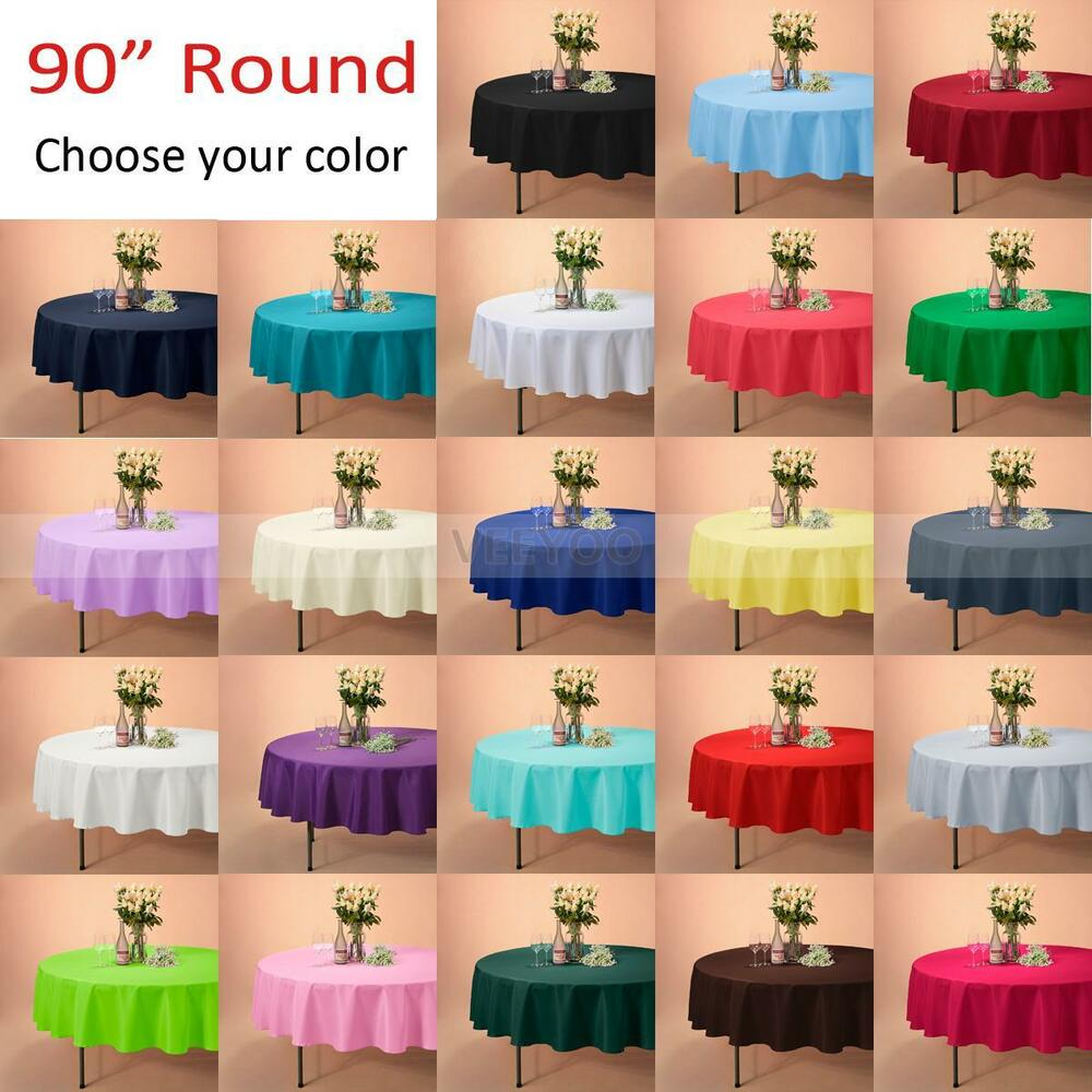 "VEEYOO 90"" Round Tablecloth Linen Great Weddings Events"