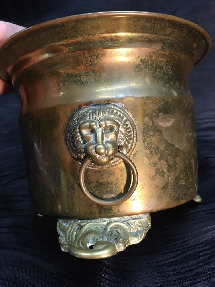 Antique Footed Brass Bucket Planter With Lion Head Handles