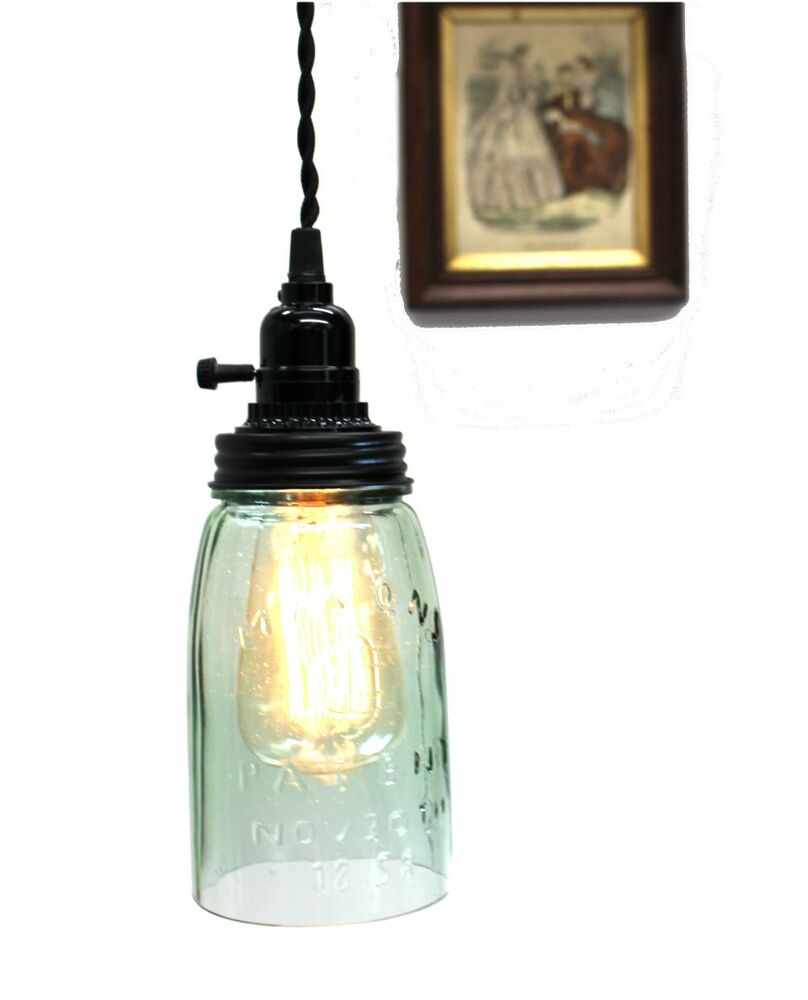 antique mason jar ceiling mounted glass light fixture ebay. Black Bedroom Furniture Sets. Home Design Ideas