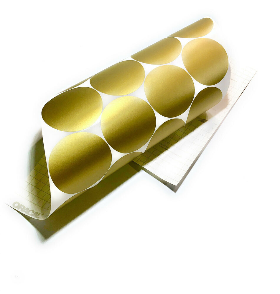 105 of 3 gold polka dots circles removable peel stick wall vinyl decal sticker ebay. Black Bedroom Furniture Sets. Home Design Ideas