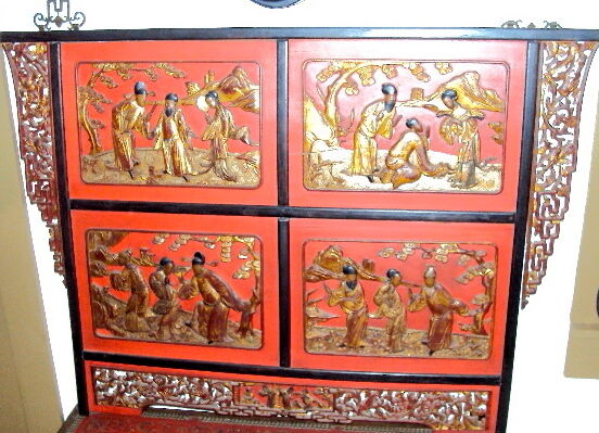 Chinese antique headboard museum carved wood wall panel