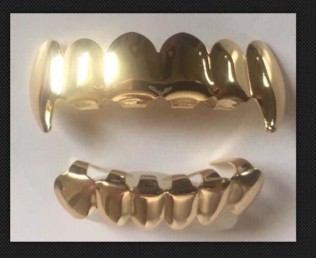 Fang 14K Gold Plated Hip Hop Grillz Top & Bottom Grill ...