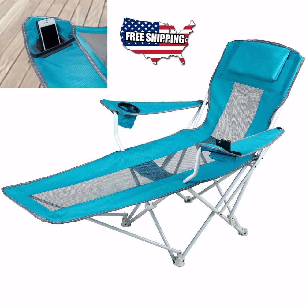 Reclining Folding Camping Chair With Footrest Stool Beach Chaise Outdoor Loun
