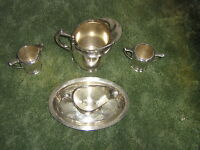 POOLE SILVER CO. EPNS HAS [ H ] ENGRAVED PITCHER-CREAMER-SUGAR-GRAVY-TRAY-1201S