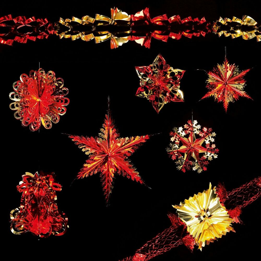Christmas foil ceiling decorations garlands stars