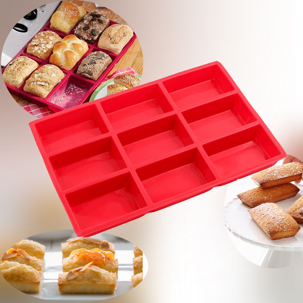 9 Cup Mini Cake Loaf Pan Food Grade Silicone Brownie Mold