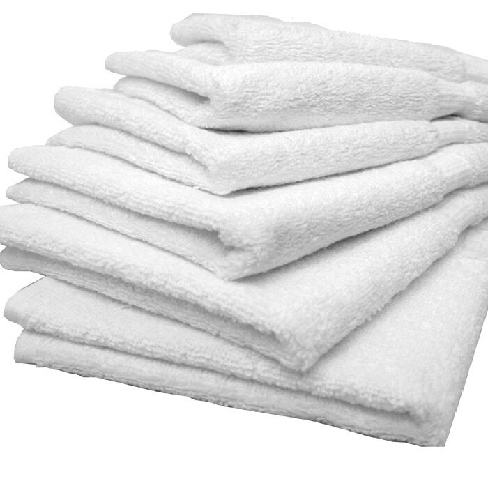 6 new white hair bath salon gym workout towels 20x40 for How to get towels white