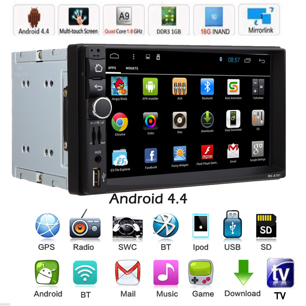 """7"""" Android 4.4 Double 2Din HD Car Stereo GPS Navi MP5 MP3"""