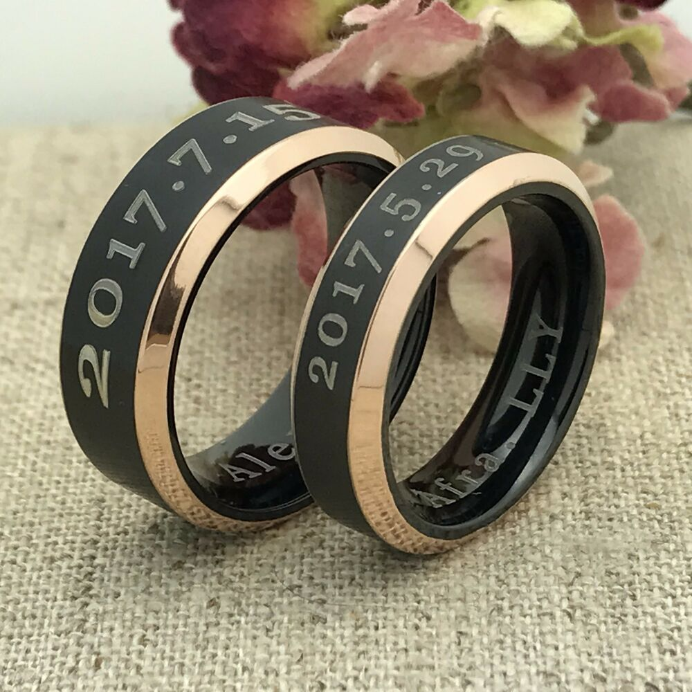 his and her titanium rings personalized engrave. Black Bedroom Furniture Sets. Home Design Ideas