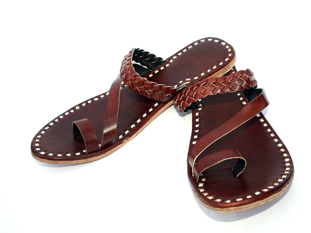 brown womens leather slippers womens sandals shoes ... - photo #29
