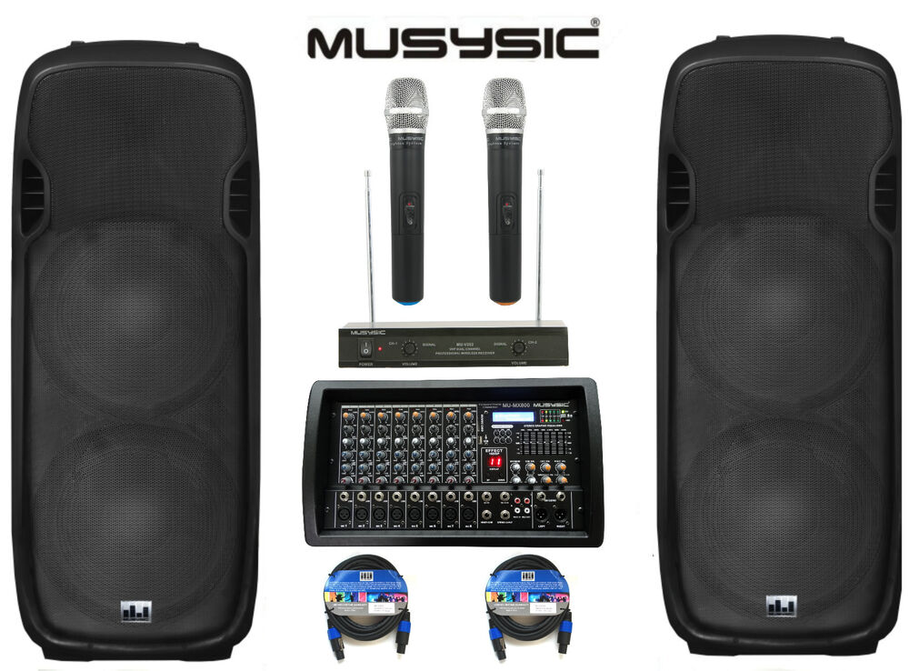 complete professional 4500w pa system 8 ch mixer dual 15 speakers wireless mics ebay. Black Bedroom Furniture Sets. Home Design Ideas