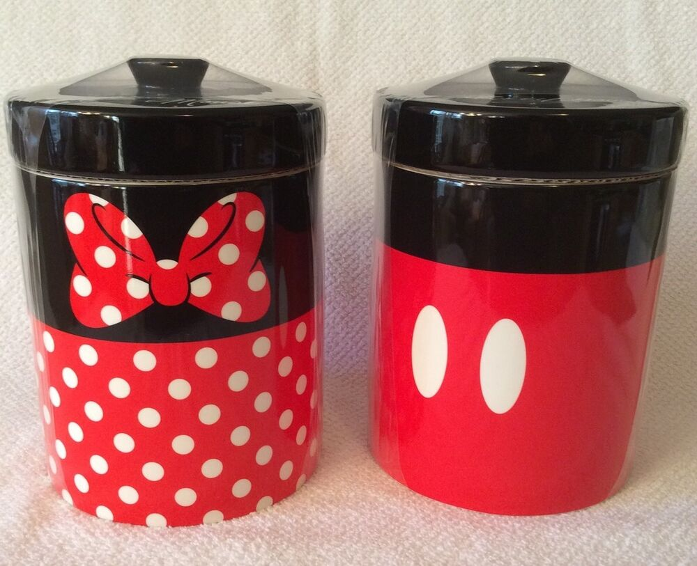 mickey mouse minnie canister set disney parks cookie jar