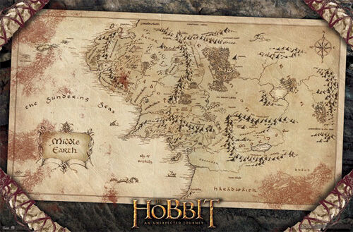 the hobbit jrr tolkien map of middle earth rare collectible wall poster ebay