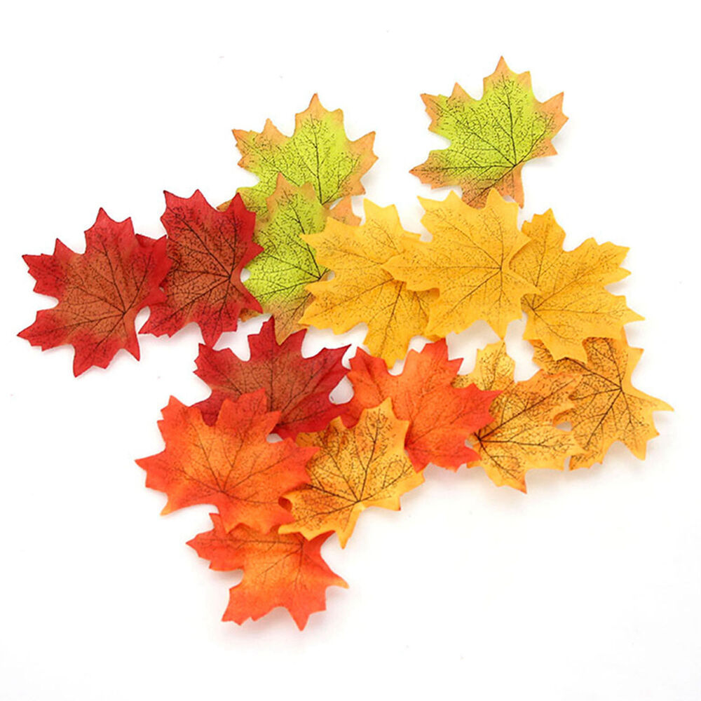 Lot 50 100 mix colors fall autumn harvest craft decor for Artificial leaves for decoration