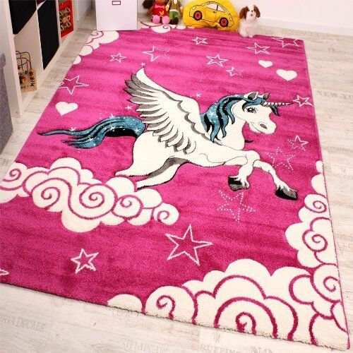 Kids Rug Pink Unicorn Girls Cute Soft Carpet Children Area