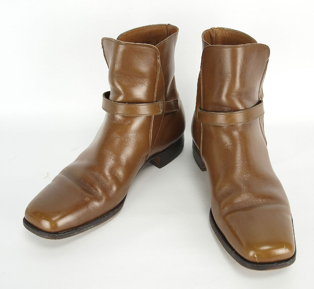 vintage mens nettleton brown leather buckle ankle boots 9