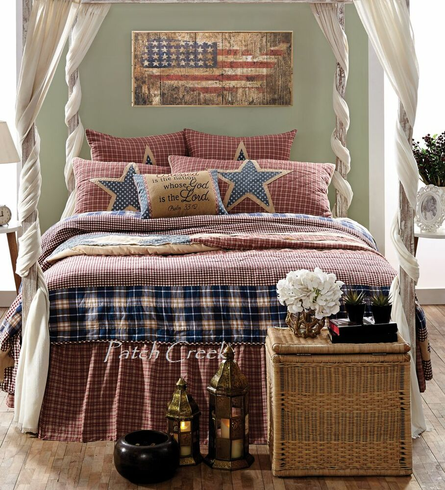 Independence Queen Quilt Patchwork Americana Usa Stars