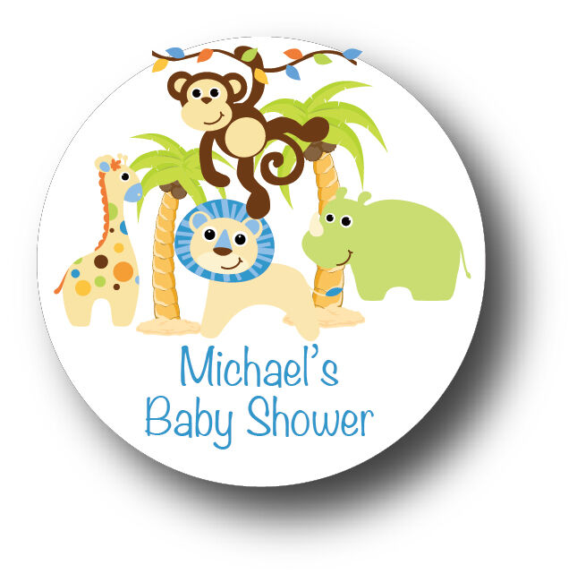 Baby Shower Stickers For Favors: 30 Jungle Animals Safari Baby Boy Shower Favor Stickers