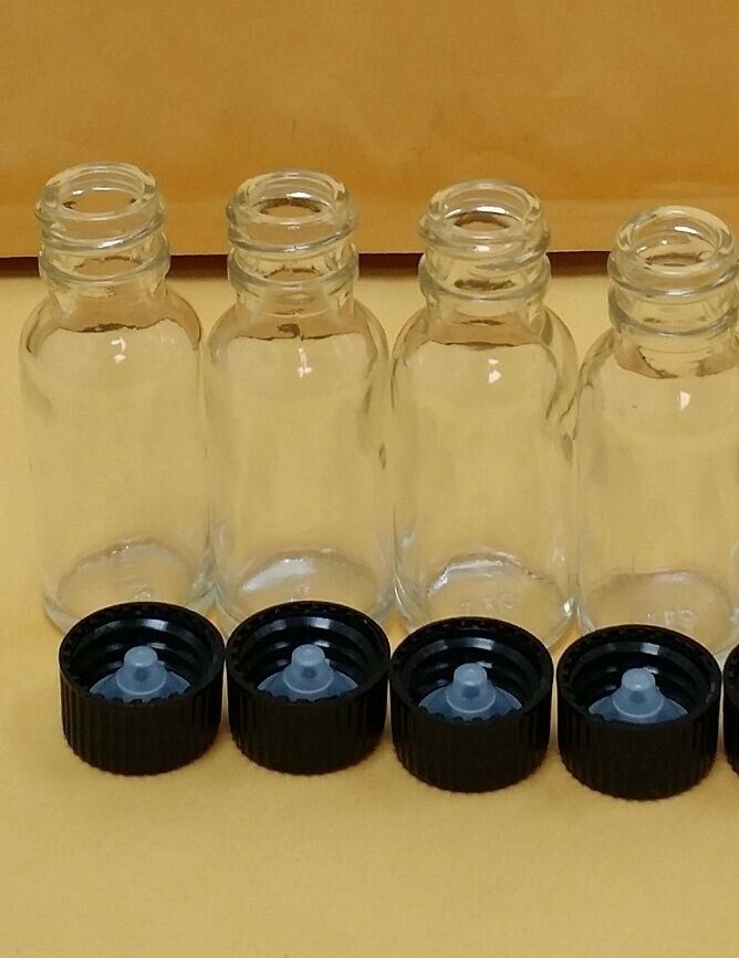5 Glass Bottles 2 Oz 60 Ml Clear Boston Round With Black