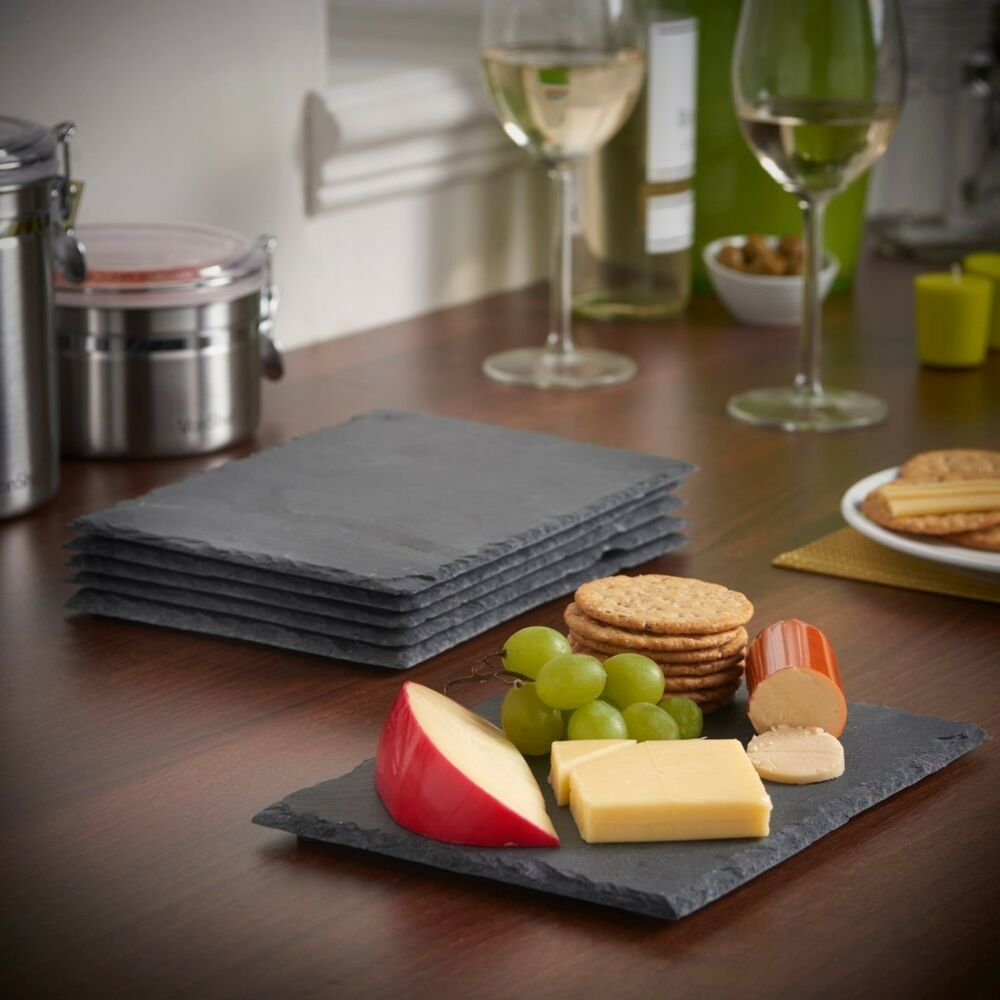 Set Of 8 Natural Slate Square Place Mat Coffee Table 4 Placemat 4 Coasters Drink Ebay