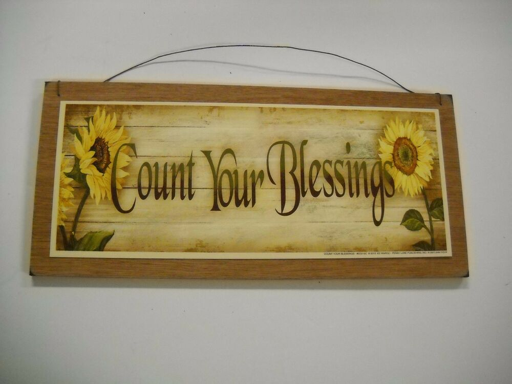 Sunflowers Count Your Blessings Country Kitchen Wooden