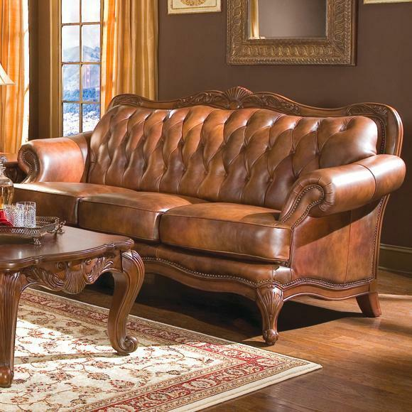 Button Tufted Top Grain Three Color Brown Leather Sofa Living Room Furniture Ebay