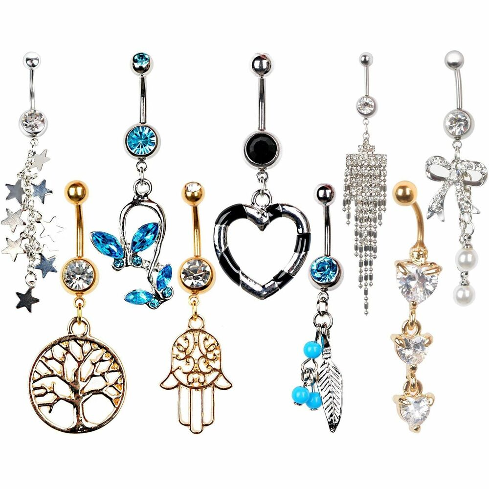 Rhinestone dangle button barbell belly navel ring bar body for Types of body jewelry rings