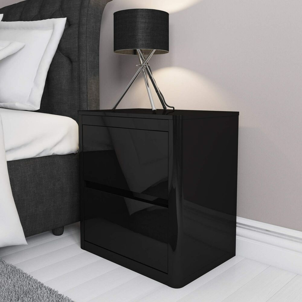 Black High Gloss Bedside Table 2 Drawer Cabinet Chest