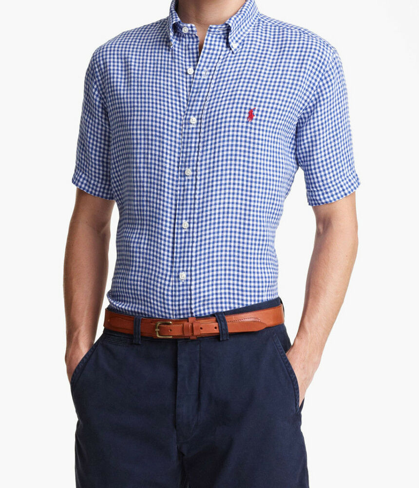 3799 polo ralph lauren mens blue white gingham check for Mens blue gingham shirt