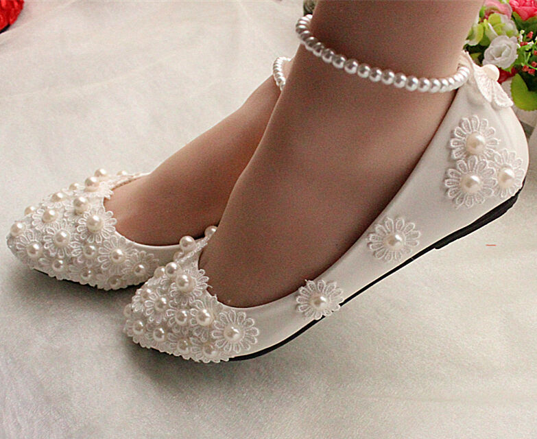 White lace Wedding shoes pearls ankle trap Bridal flats low high ...
