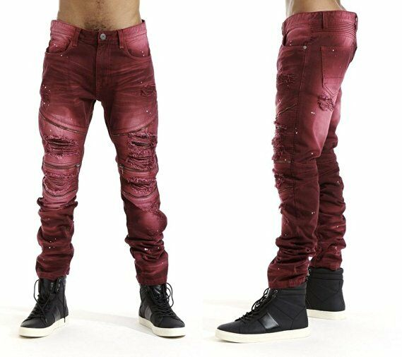 Mens Balmain Styled Biker Zipper Jeans By Smoke Rise Slim ...