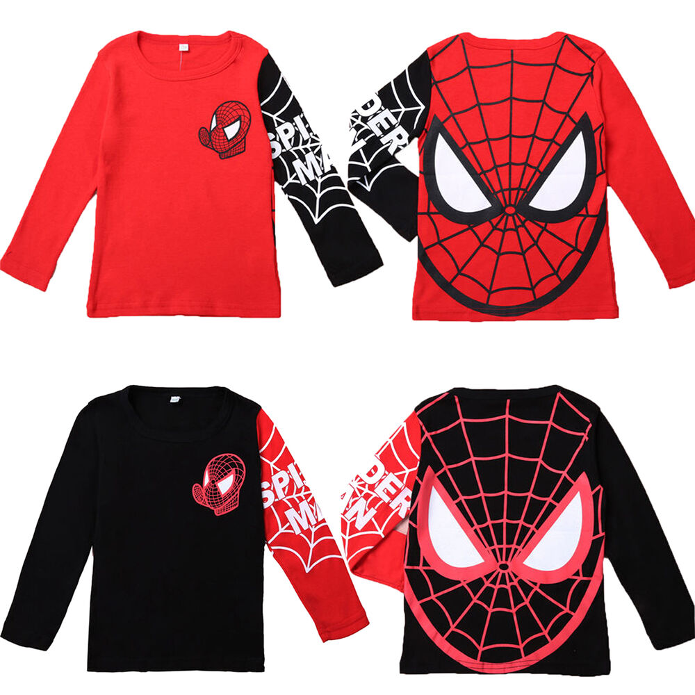 Kids boys spiderman superhero casual t shirt long sleeve Boys superhero t shirts