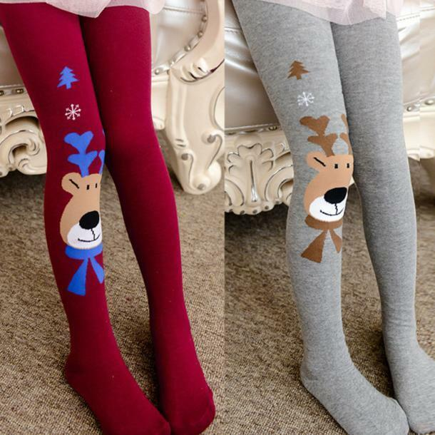 Kids Girls Cotton Christmas Elk Tights Socks Stockings ...