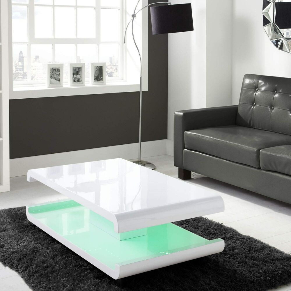 Modern Oval White High Gloss Glossy Lacquer Coffee Table: White High Gloss Coffee Table With Multi-Colour LED