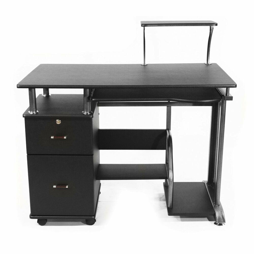 computer desk with storage cabinets stylish compact. Black Bedroom Furniture Sets. Home Design Ideas