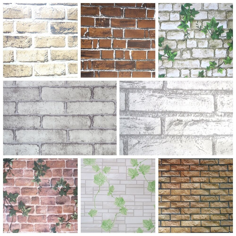 3d wall sticker bedroom home mural stone brick wall for Brick wall decal mural
