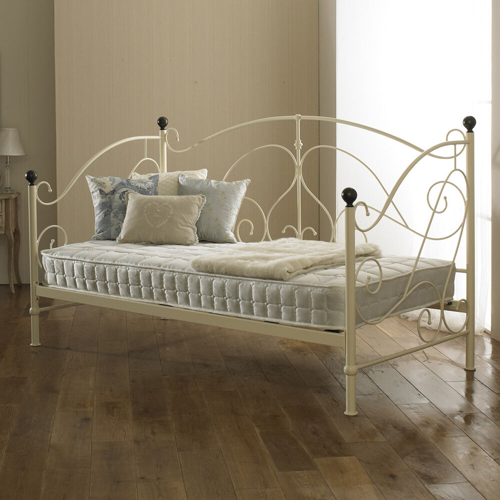 milano metal day bed cream with wooden sprung slats base. Black Bedroom Furniture Sets. Home Design Ideas