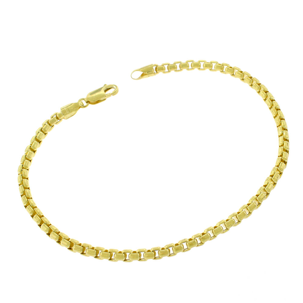 "10k Gold Cuban Link Chain >> Brand New MCS Jewelry 10 Karat Hollow Rolo Chain Bracelet Yellow Gold 8"" (3.5mm) 