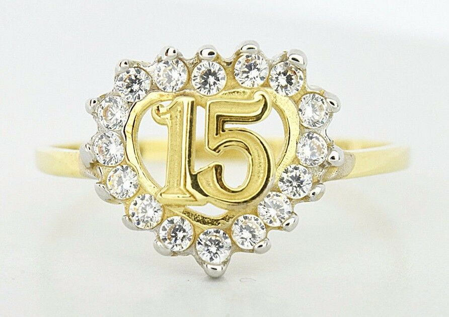 15 Anos Rings: 15 Years Old Quinceanera Heart Sim Diamond Ring 14k Real
