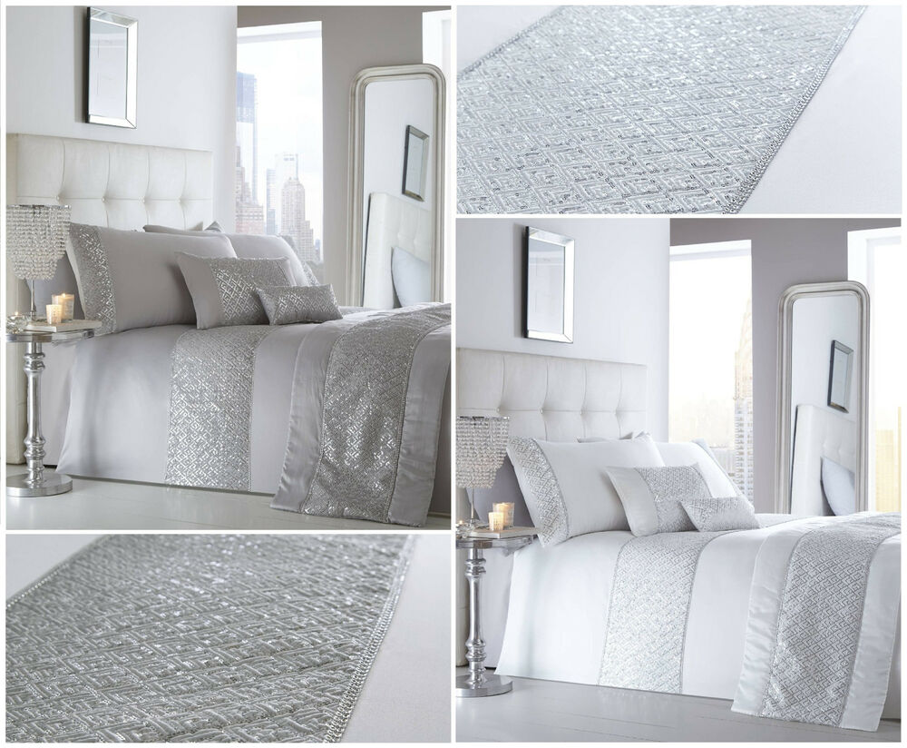 shimmer luxury sequin diamante white silver duvet cover bedding set double king ebay. Black Bedroom Furniture Sets. Home Design Ideas