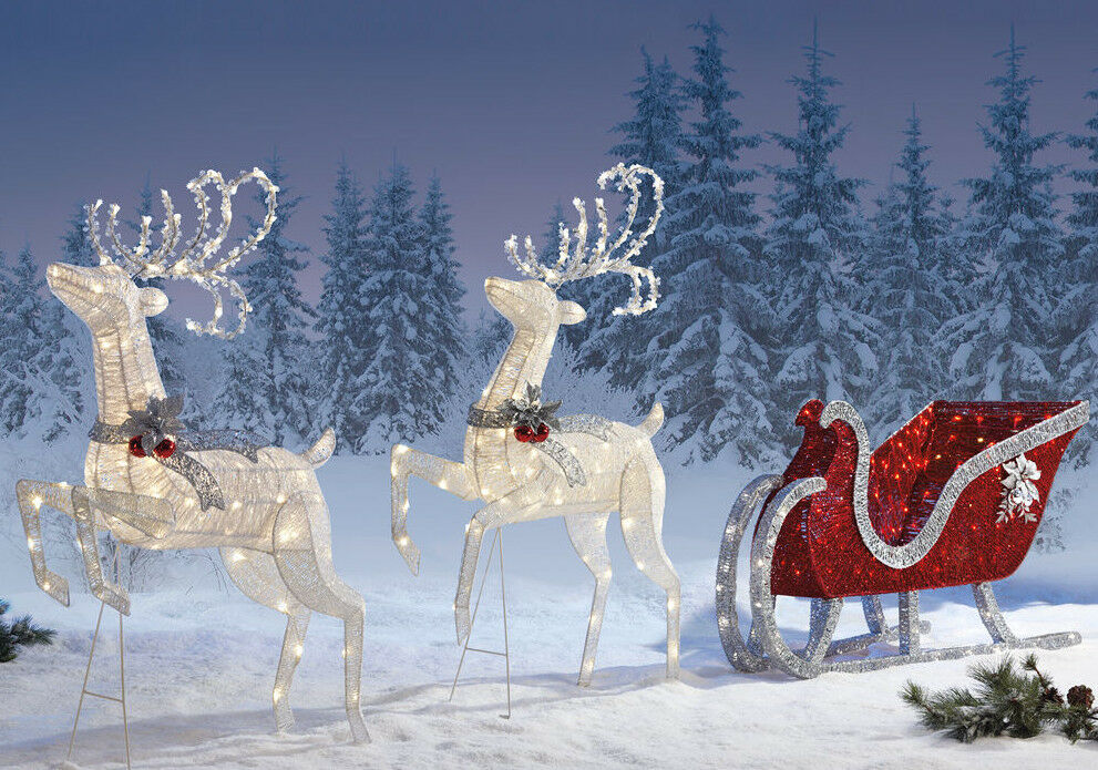 Reindeer sleigh 400 led lights indoor outdoor garden for Christmas deer decorations indoor