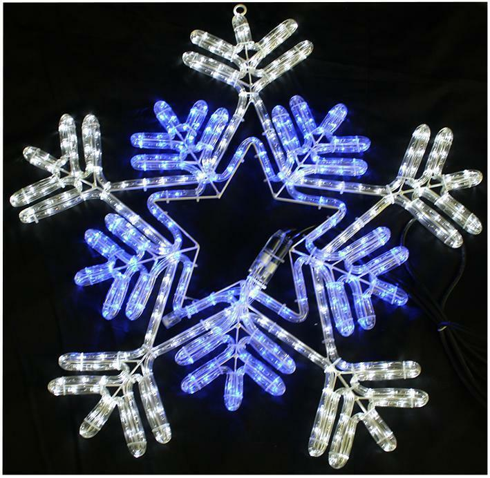 Mains Voltage 5 Piece Snowflake Curtain Christmas Festive ...  |Snowflake Blue And White Lights