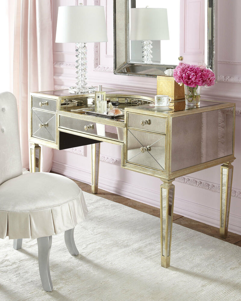 Mirrored Vanity Table And Stool: NEW Amelie ANTIQUE MIRRORED VANITY MAKEUP Table DESK