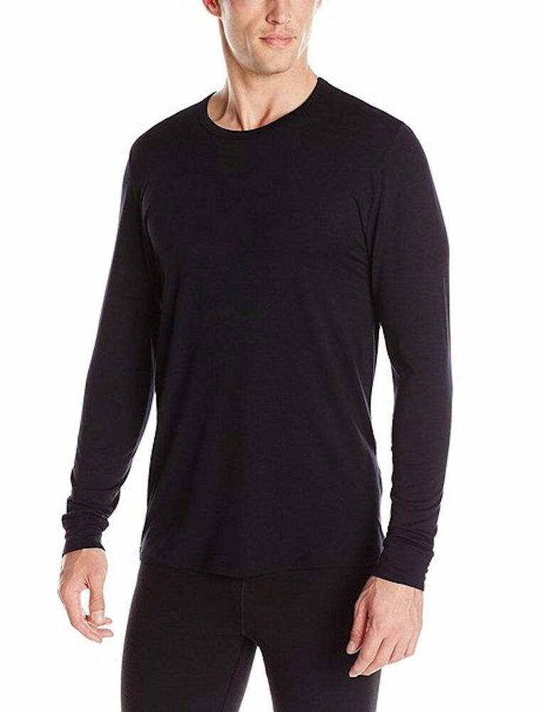 Heatkeep men 39 s size large black long sleeve crew neck for Large shirt neck size